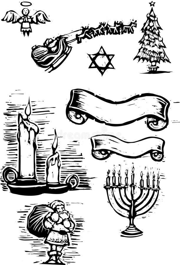 Set Weihnachtspunkte stock abbildung