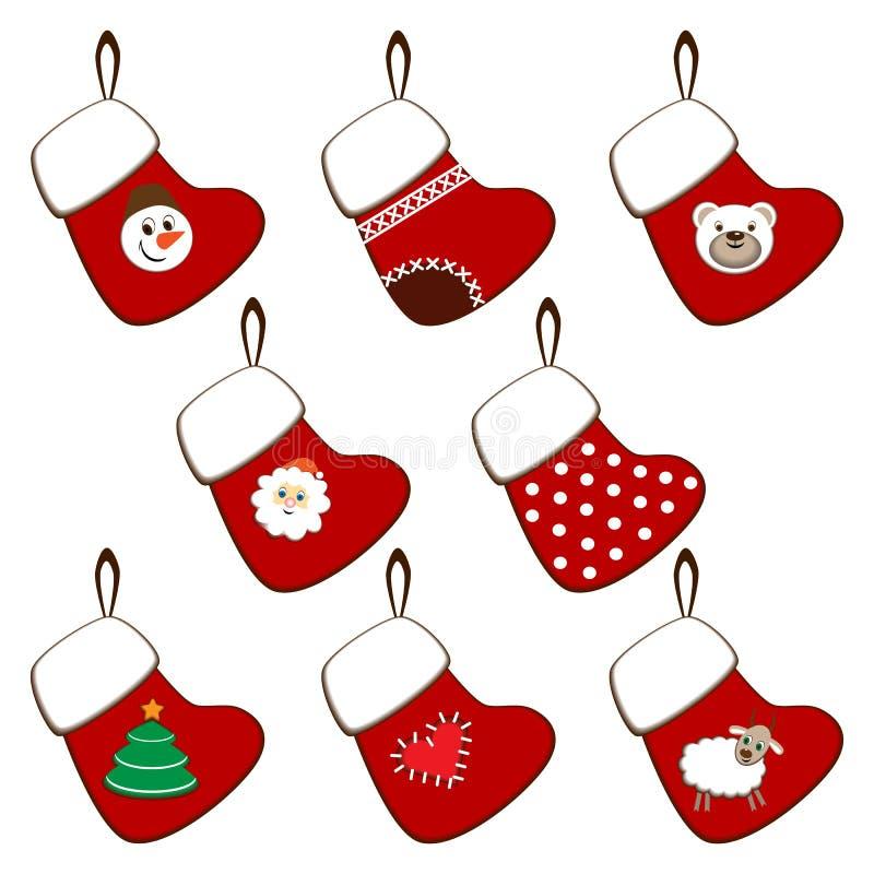 Set Weihnachtsstrümpfe stockfotos