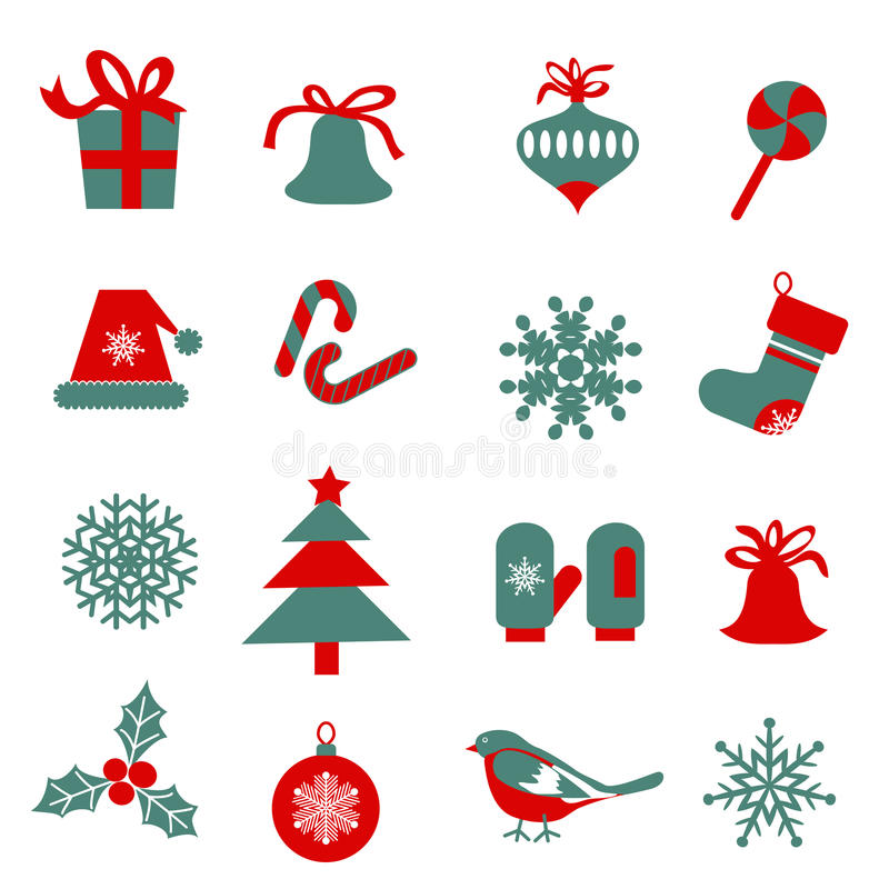 Set Weihnachtssymbole lizenzfreie abbildung