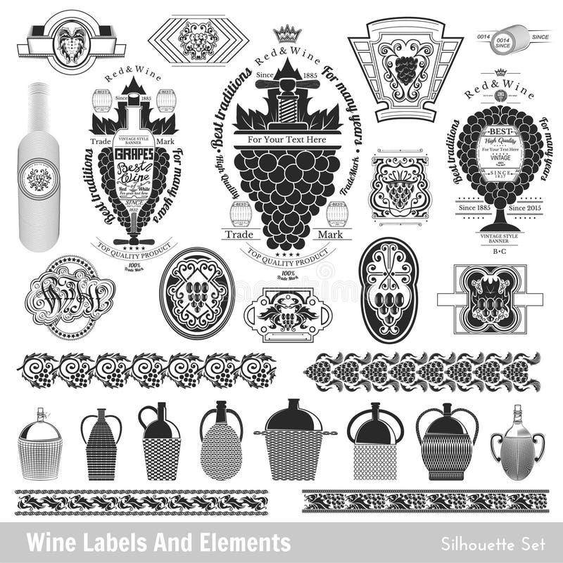 Set Weinkennsätze Sammlung lokalisiertes Schwarzes auf Weiß stock abbildung