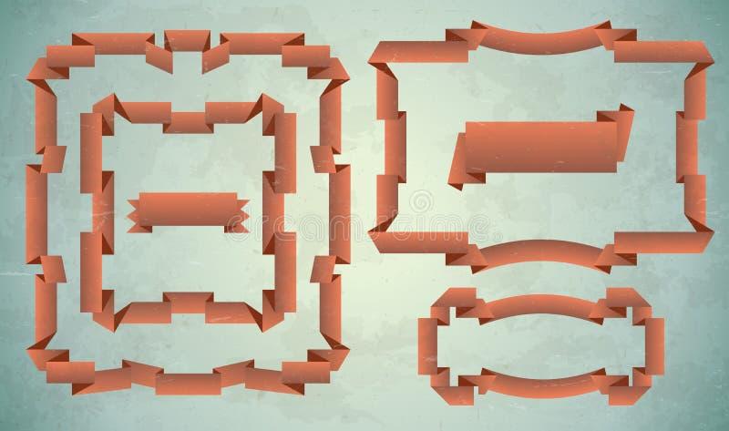 Set Weinlesefarbbandfelder vektor abbildung