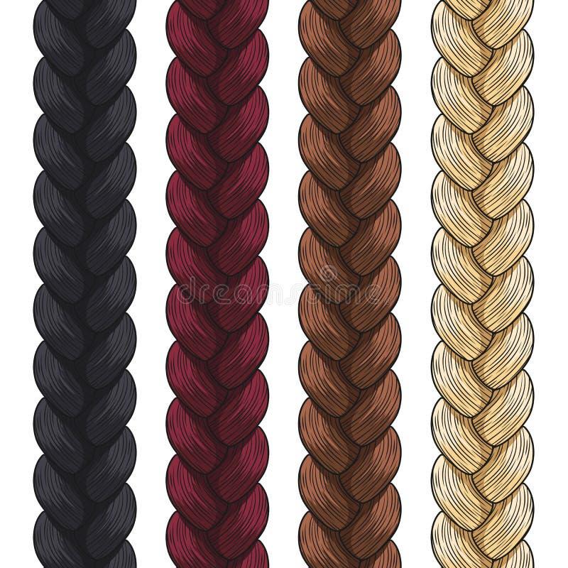 Set wektorów barwioni pigtails wzór bezszwowego ilustracja wektor