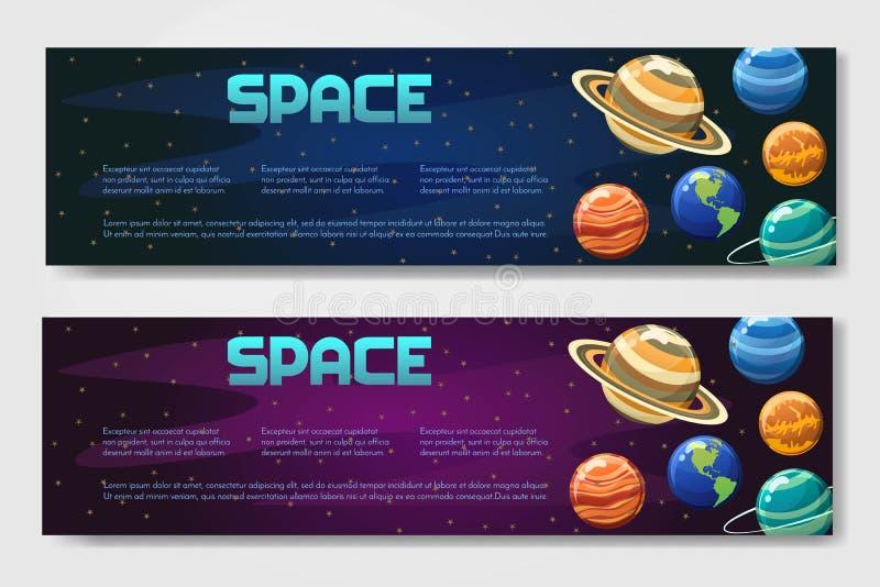 Set 2 wektorów brouchure ulotka, sztandar z planetami odizolowywać na astronautycznym tle w różnych stylach Wszechświat, galaxy,  zdjęcia royalty free