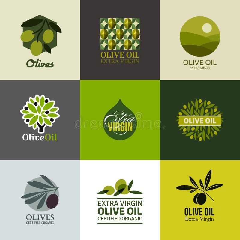 Set wektorów emblematy z gałązką oliwną i etykietki ilustracja wektor