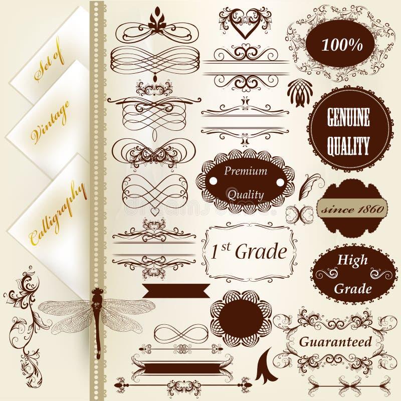 Kolekcja rocznika projekta kaligraficzni elementy i strony deco ilustracja wektor