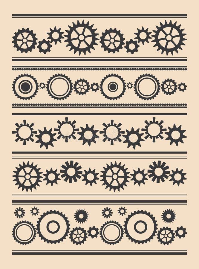 Set wektor graniczy z przekładniami - różnorodni cogwheels ilustracji