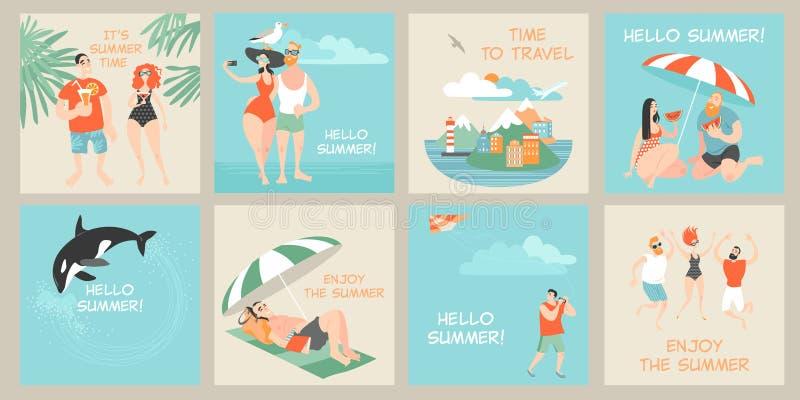 Set wektor karty z ilustracjami śliczne postacie z kreskówki cieszy się lato ilustracji