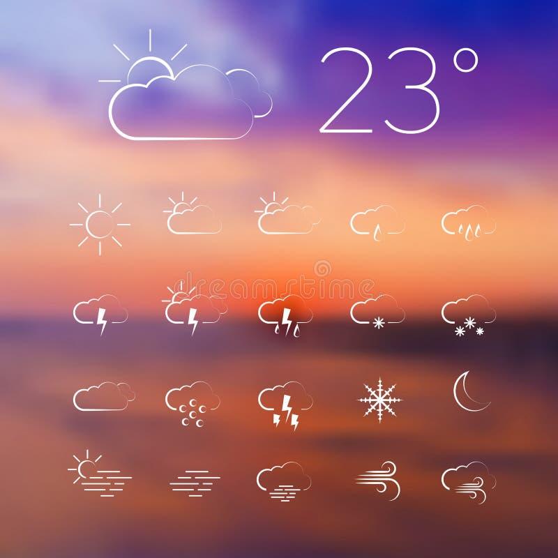 Set wektor pogody cienkie kreskowe ikony na zamazanym tle ilustracji