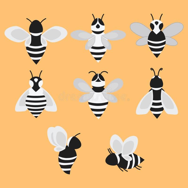 Set wektor stylizowane pszczoły Kolekcja logowie z miodową pszczołą Czarny i biały ikony z insektami Tatuaż ilustracji