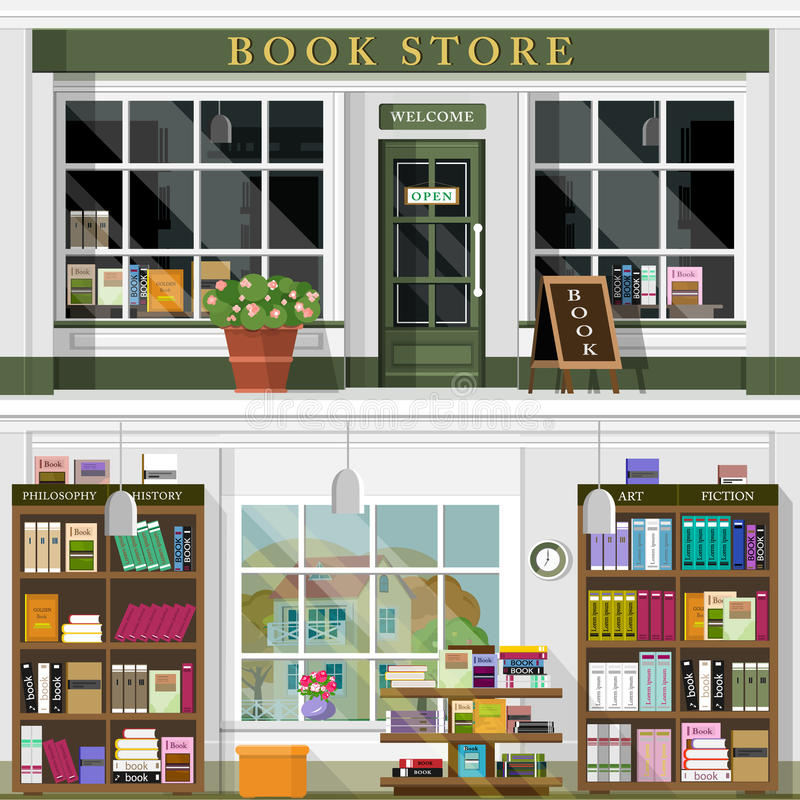 Set wektor wyszczególniający płaski projekta bookstore wnętrze i fasada Chłodno graficzny wewnętrzny projekt dla książkowego skle royalty ilustracja