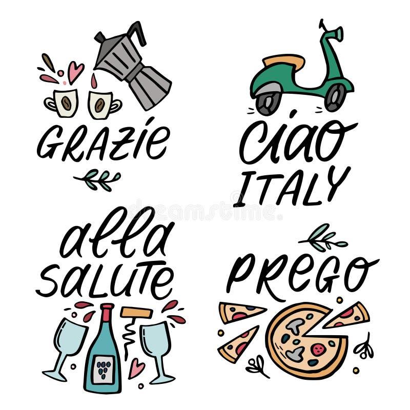 Set wektorowa śliczna ilustracja z traditioanal Włoskimi symbolami z handlettering słowami royalty ilustracja