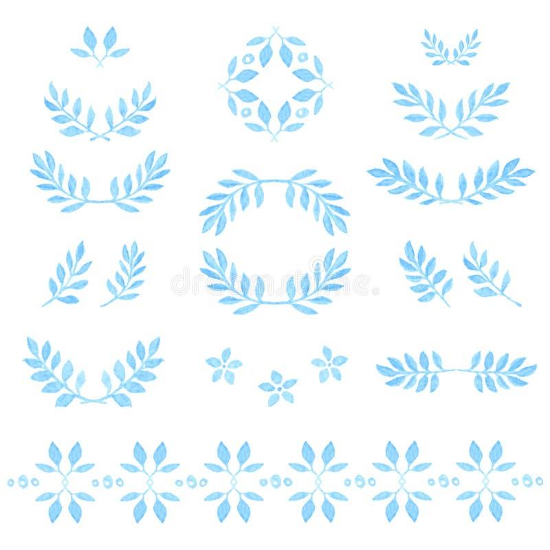 Set wektorowa akwarela opuszcza, odznaki, kwieciste ilustracji