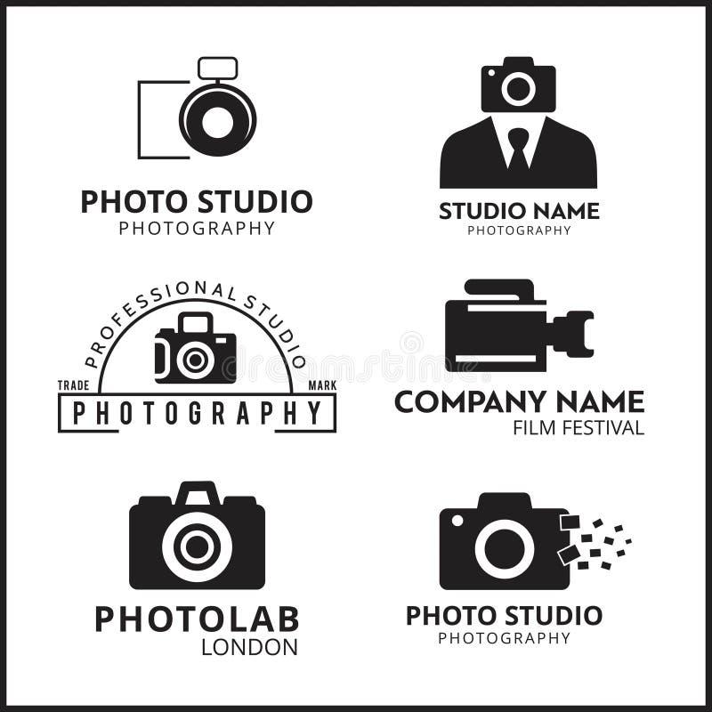 Set 6 Wektorowa Czarna ikona dla fotografa Kamery ikona ilustracja wektor