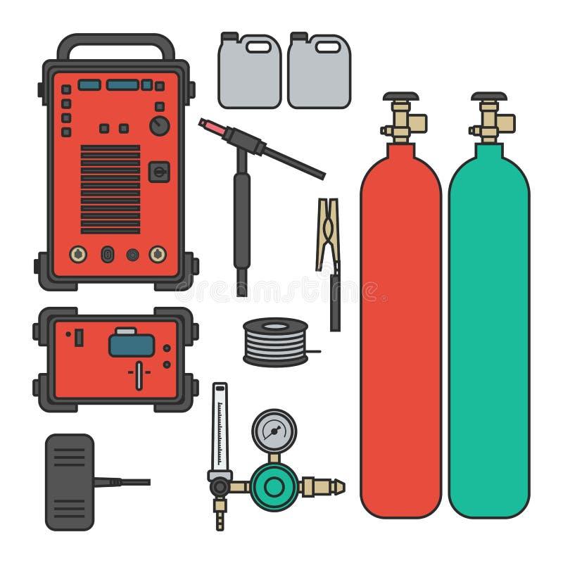 Set wektorowa ilustracyjna benzynowego spawu argonu maszyna z regulator cysternową pochodnią ilustracja wektor