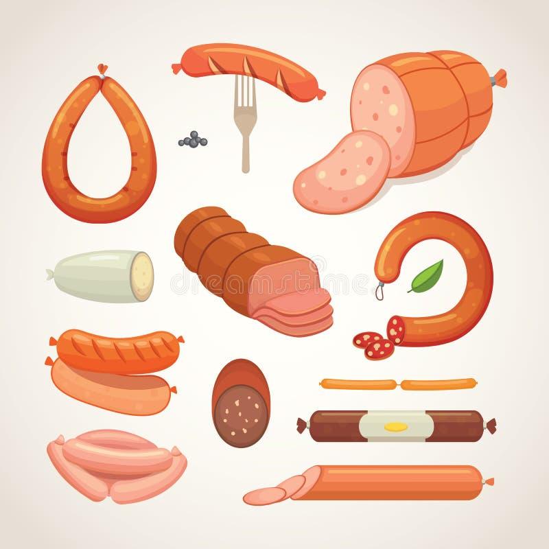 Set wektorowa kreskówki kiełbasa Bekon, pokrojony salami i Dymiący Gotowany, świeże Garmażeryjne ikony grilled ilustracji