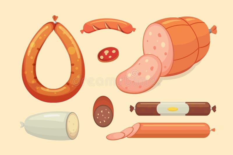 Set wektorowa kreskówki kiełbasa Bekon, pokrojony salami i Dymiący Gotowany, Odosobnione świeże Garmażeryjne ikony grilled ilustracji