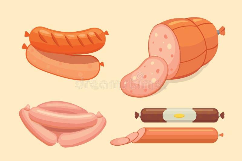 Set wektorowa kreskówki kiełbasa Bekon, pokrojony salami i Dymiący Gotowany, Odosobnione świeże Garmażeryjne ikony grilled royalty ilustracja