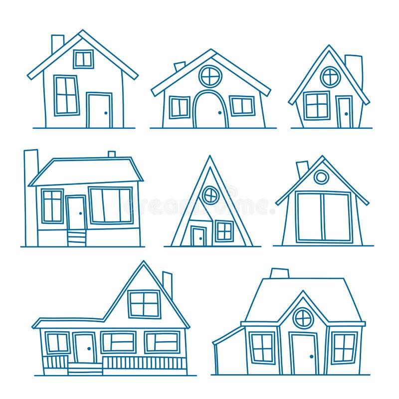 Set Wektorowa kreskowej sztuki ilustracja chłodno szczegółowa domowa ikona odizolowywająca na białym tle Dla barwienia royalty ilustracja