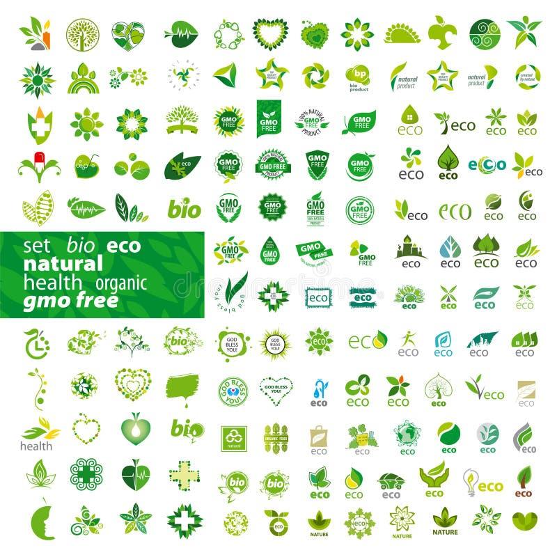Set wektorowa logo ekologia, zdrowie, naturalny royalty ilustracja