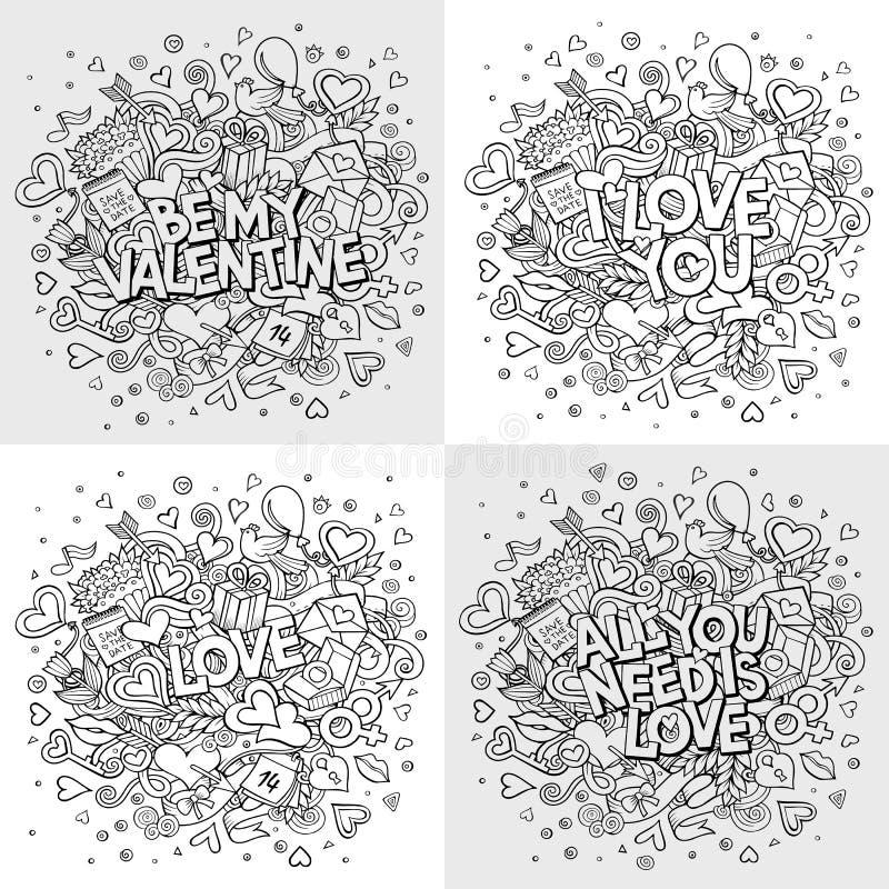 Set wektorowa ręka rysować Doodle walentynki ` s dnia Szczęśliwe ilustracje ilustracja wektor