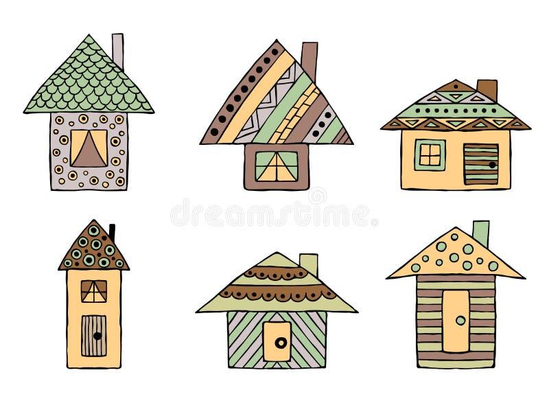 Set wektorowa ręka rysujący dekoracyjni stylizowani dziecięcy domy Doodle styl, graficzna ilustracja Ornamentacyjny śliczny ręka  ilustracja wektor