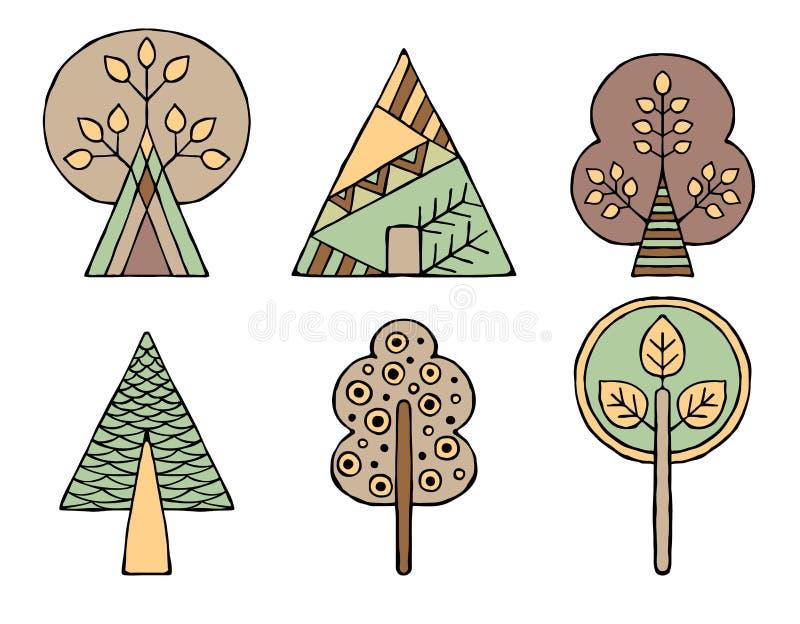Set wektorowa ręka rysujący dekoracyjni stylizowani dziecięcy drzewa Doodle styl, graficzna ilustracja Ornamentacyjny śliczny ręk ilustracja wektor