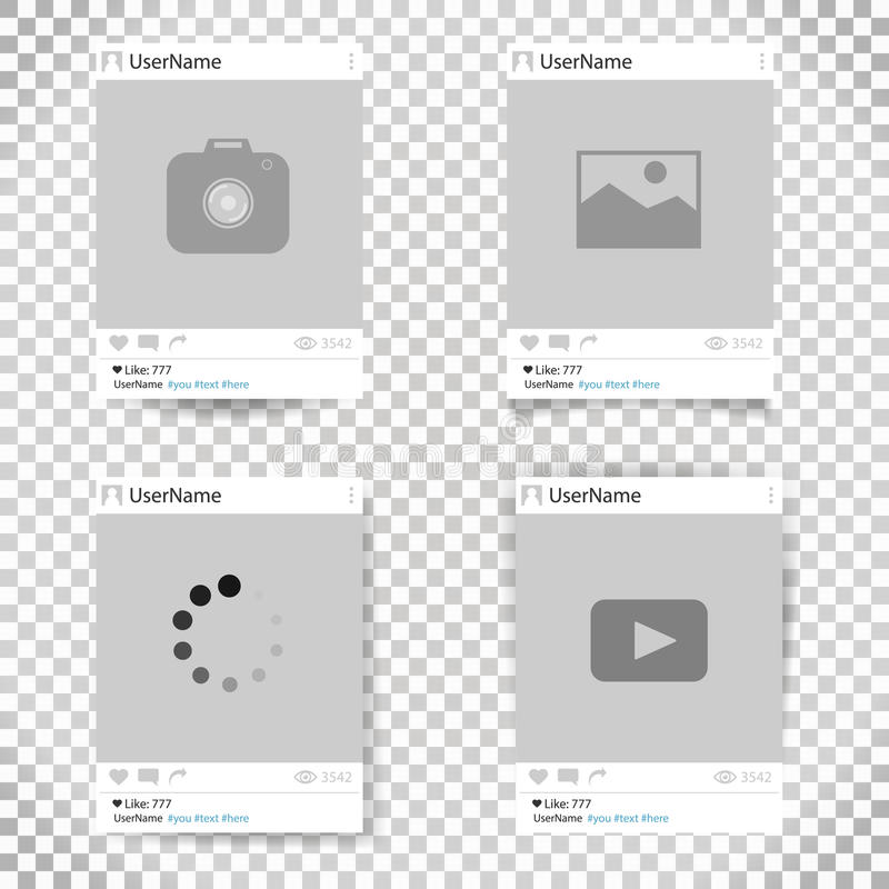 Set wektorowa szablon fotografii rama Ogólnospołeczna sieci fotografii rama projekt dla twój obrazka i fotografii royalty ilustracja