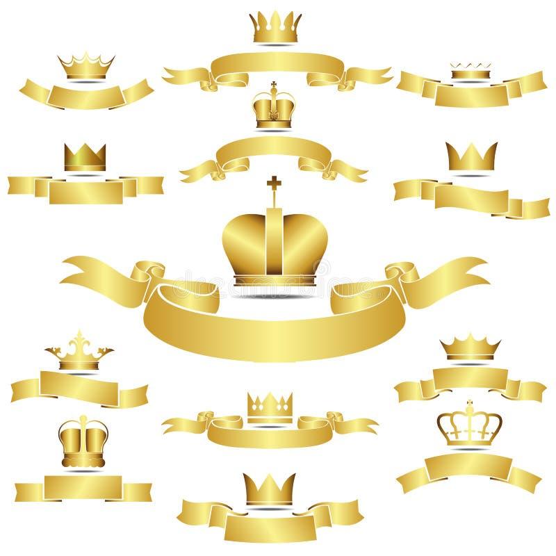Set Wektorowa Złota korona Z krzywa sztandarem royalty ilustracja