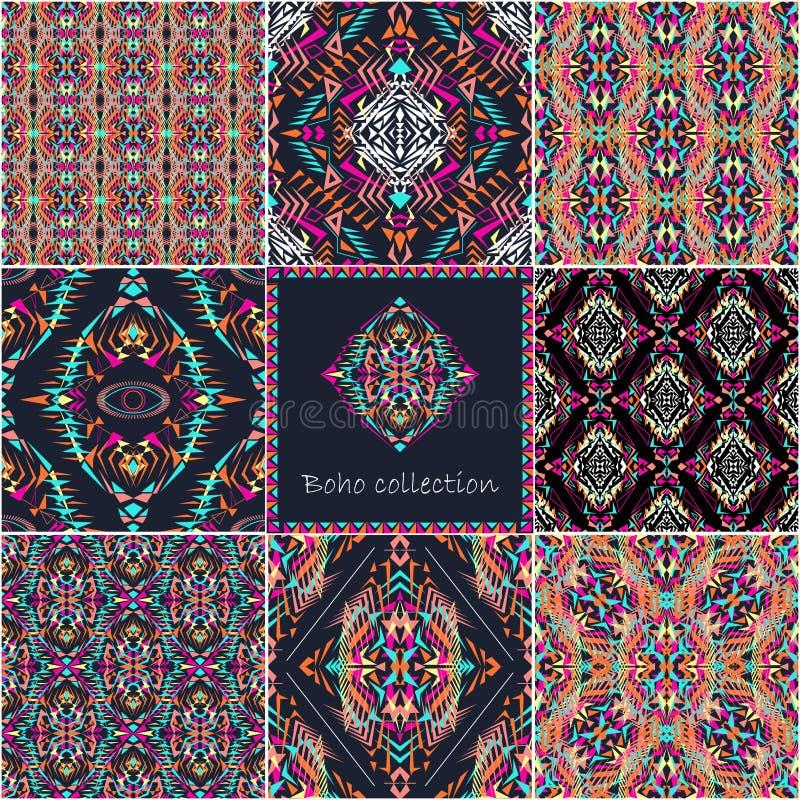 Set wektorowe bezszwowe tekstury z plemiennym geometrycznym wzorem i ramą Electro boho koloru trend royalty ilustracja