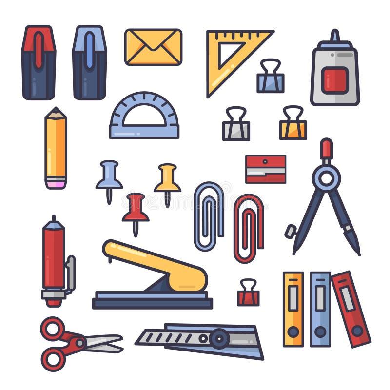 Set wektorowe biurowe akcesoria ikony Szkolne dostawy, materiały Kreskówki Doodle płaski styl Edukacja asortyment royalty ilustracja