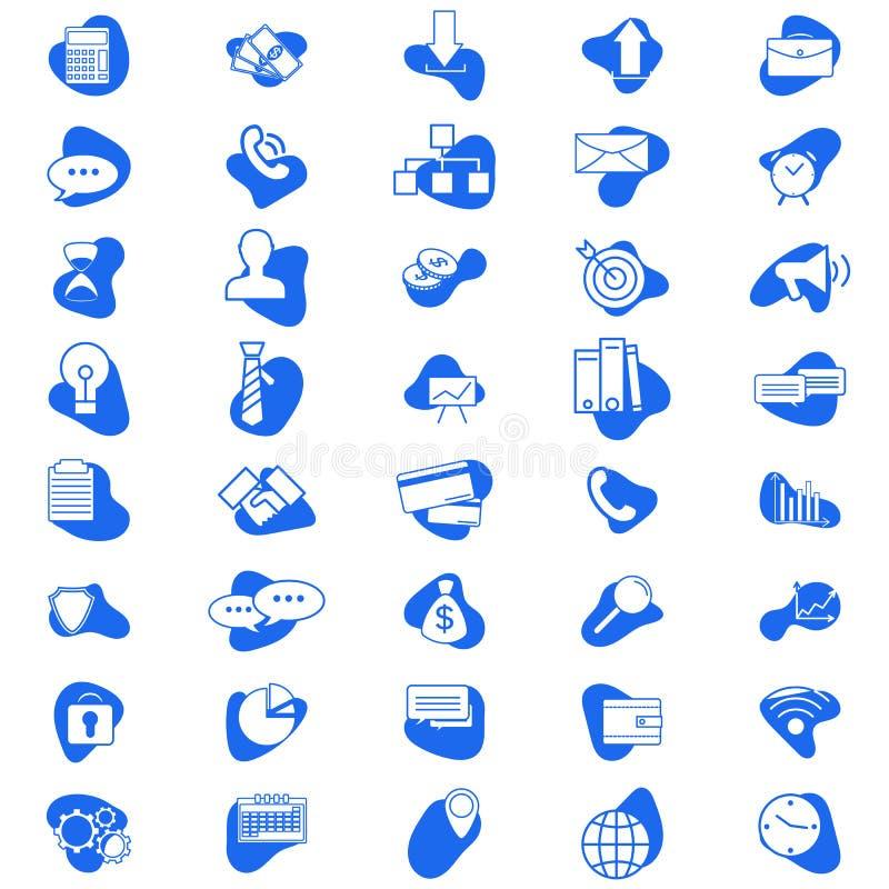 Set wektorowe biznesowe ikony Proste biznesowe ikony Płaski minimalny projekta styl W błękitnym kolorze royalty ilustracja