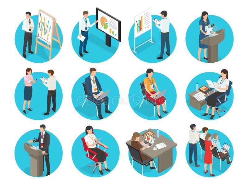 Set Wektorowe Biznesowe ikony z urzędnikami royalty ilustracja