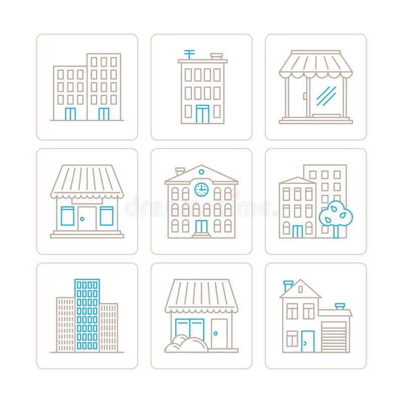 Set wektorowe budynek ikony, pojęcia w mono cienkim kreskowym stylu i ilustracja wektor