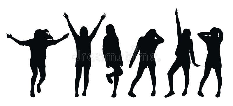 Set wektorowe czarne sylwetki odizolowywać na białym tle pozować dziewczyny ilustracja wektor