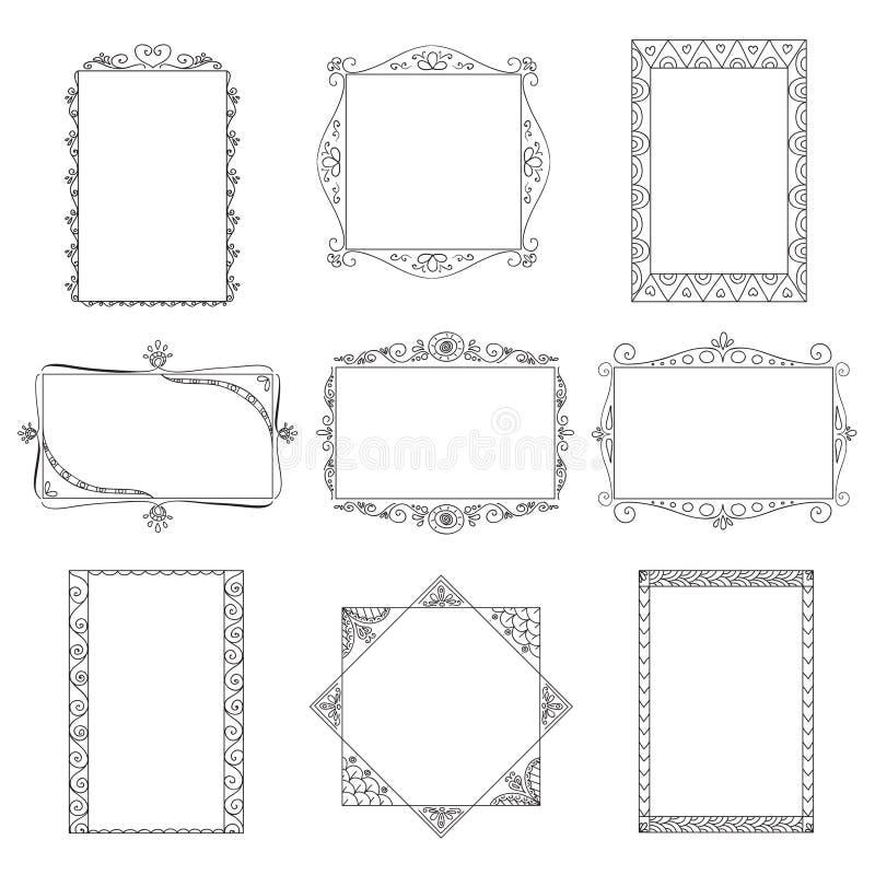 Set wektorowe doodle ramy. royalty ilustracja