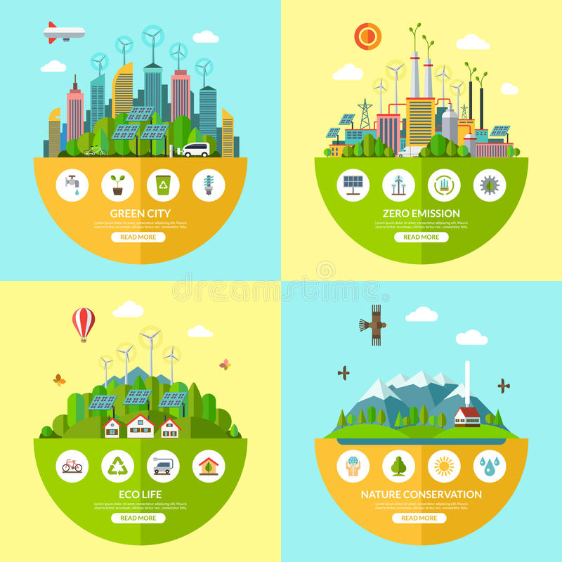 Set wektorowe ekologii ilustracje w mieszkanie stylu ilustracji