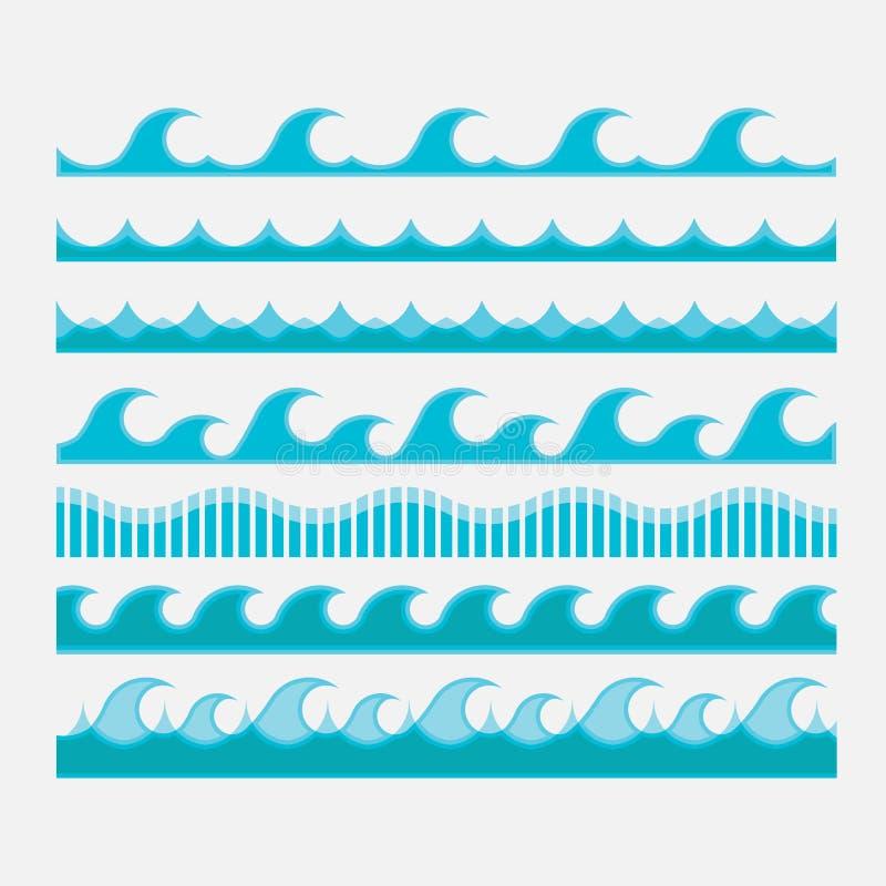 Set wektorowe ikony, błękitne fale, wodne fale royalty ilustracja