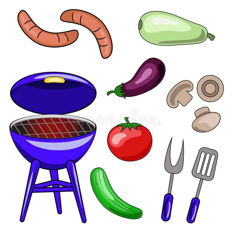 Set wektorowe ikony grill Ilustracje grill, sau royalty ilustracja