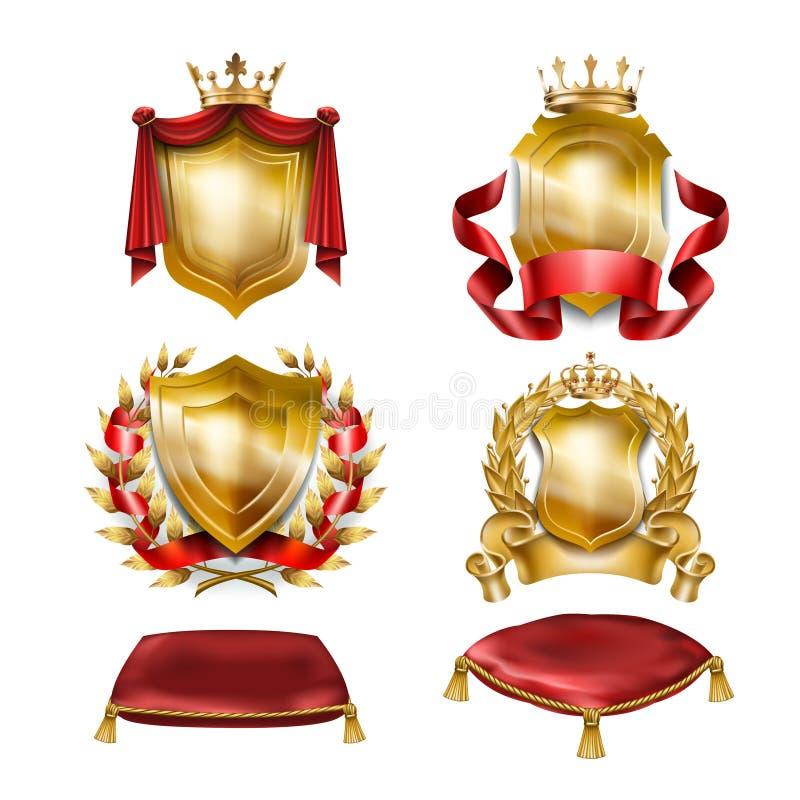 Set wektorowe ikony heraldyczne osłony z królewskimi złotymi koronami ilustracja wektor