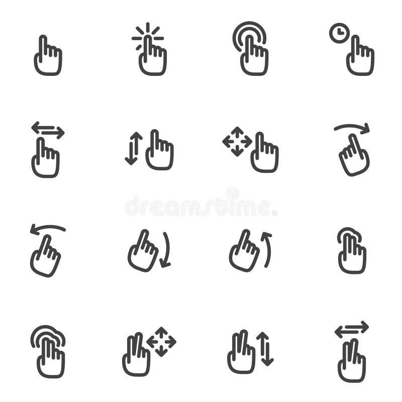 Set wektorowe ikony i logo ręki, palce, gesty, ruchu dotyka ekran royalty ilustracja