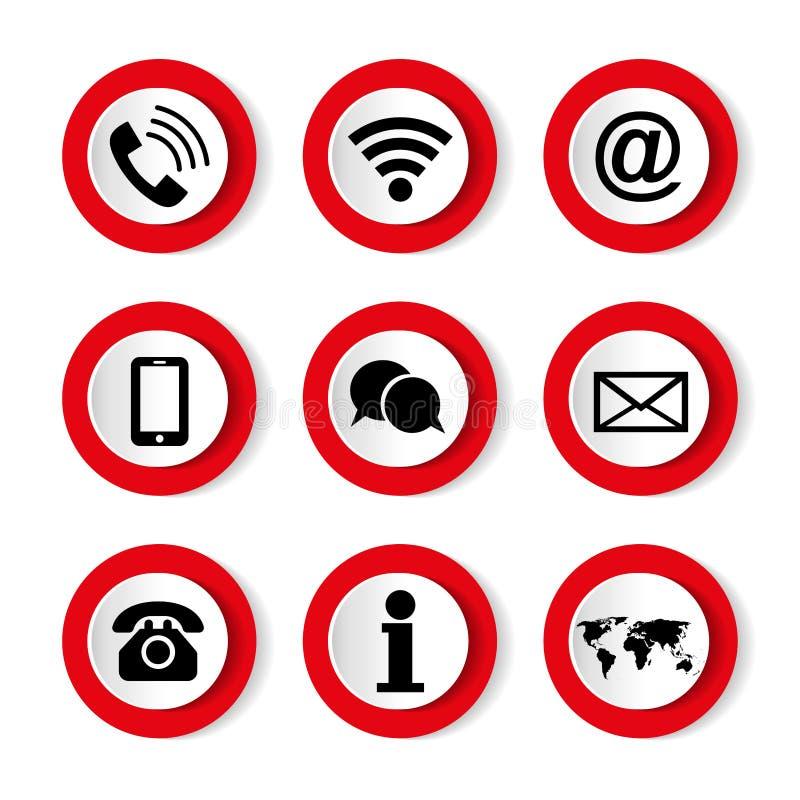 Set wektorowe ikony na białym tle na temacie, kontaktuje się my zmiennik barwi komunikacyjna ikona zawiera? set royalty ilustracja