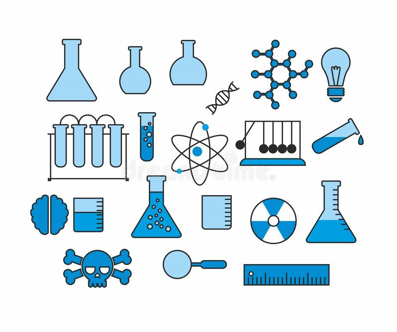 Set wektorowe ikony nauka i edukacja royalty ilustracja