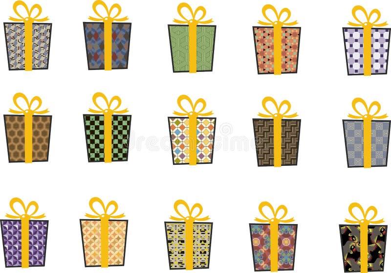 Set wektorowe ikony w mieszkanie stylu dla bożych narodzeń Elegancki set prezenty i boże narodzenie skarpety taśma żółty obrazy royalty free