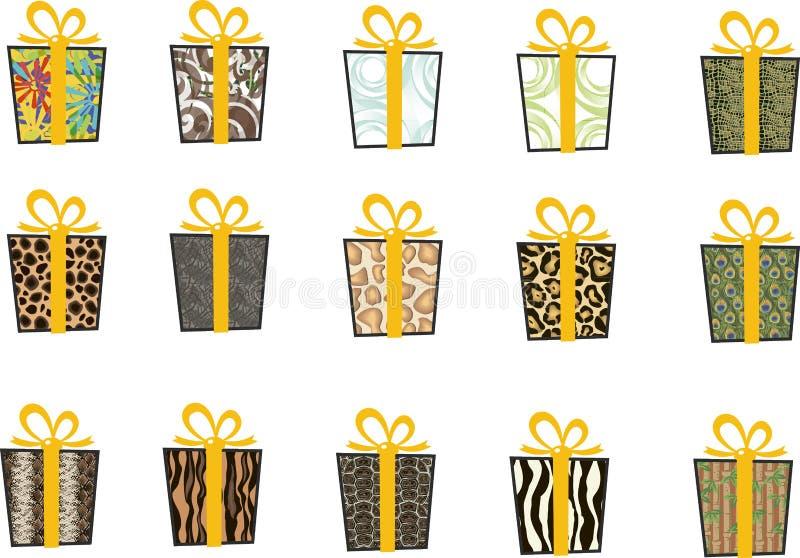 Set wektorowe ikony w mieszkanie stylu dla bożych narodzeń Elegancki set prezenty i boże narodzenie skarpety taśma żółty obraz stock