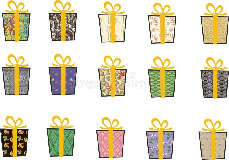 Set wektorowe ikony w mieszkanie stylu dla bożych narodzeń Elegancki set prezenty i boże narodzenie skarpety taśma żółty zdjęcia stock