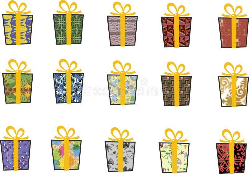 Set wektorowe ikony w mieszkanie stylu dla bożych narodzeń Elegancki set prezenty i boże narodzenie skarpety taśma żółty zdjęcia royalty free