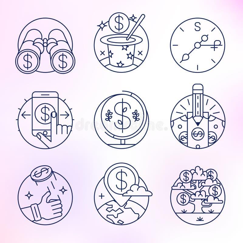 Set wektorowe ikony w nowożytnym liniowym stylu royalty ilustracja