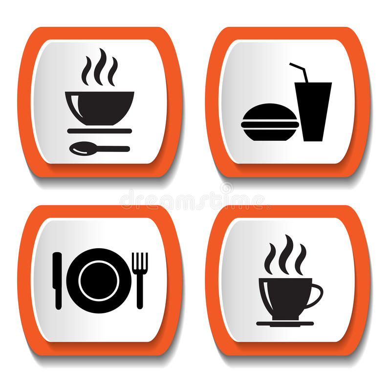 Set wektorowe ikony z jedzeniem ilustracji