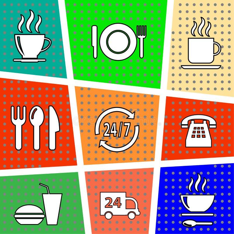 Set wektorowe ikony z jedzeniem royalty ilustracja