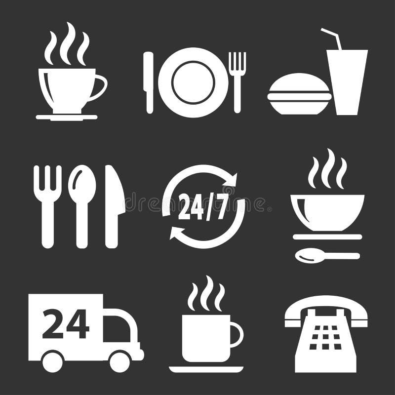 Set wektorowe ikony z jedzeniem na ciemnym tle royalty ilustracja